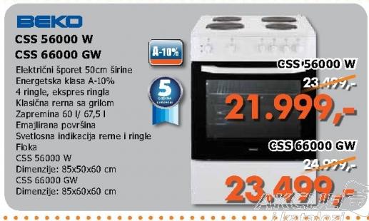 Css 56000 w Električni Šporet