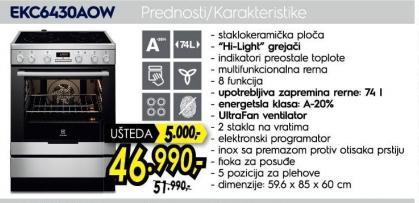 Electronics Šporet EKC6430AOW