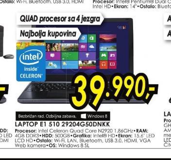 Laptop Aspire E1-510-29204G50Dnkk