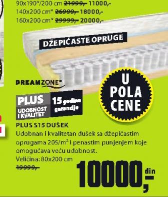 Dušek Plus S15, 80x200 cm