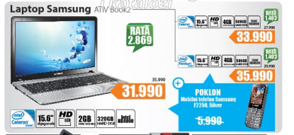Laptop ATIV Book2 NP270E5V-K02HS+poklon Mobilni telefon  E2250