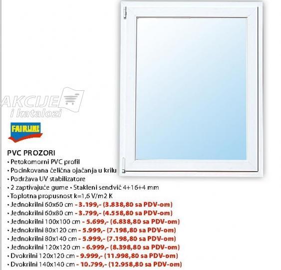 PVC prozor Jednokrilni 60x60
