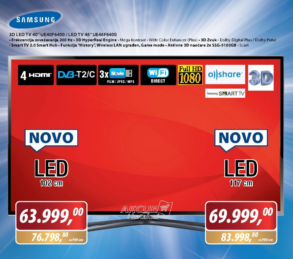LED Televizor UE46F6400