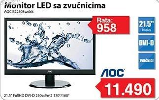 """Monitor LED 21,5"""" E2250Swdak sa zvučnicima"""