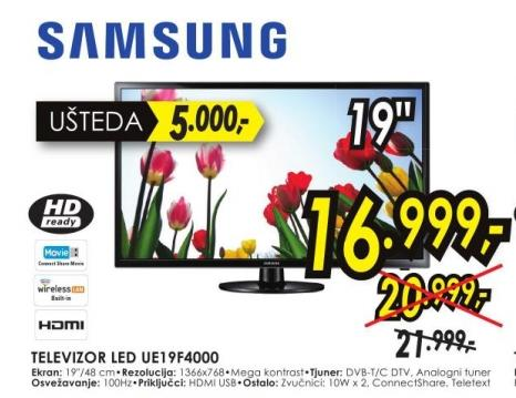 "Televizor LED 19"" Ue19f4000"