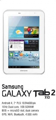 Mobilni telefon Galaxy Tab2  7.0