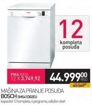 Mašina za pranje posuđa Sms41d02eu