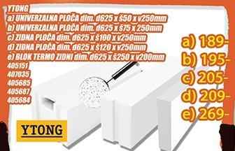 Ytong zidna ploča 625x120x250mm