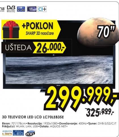 Televizor 3D LED LCD LC 70LE835