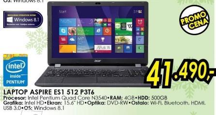 Laptop Aspire Es1 512 P3t6