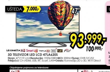 Televizor LED LCD 47LA620S