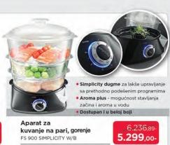 Aparat za kuvanje na pari FS 900 Simplicity W/B