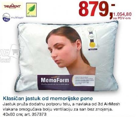 Klasičan jastuk od memorijske pene