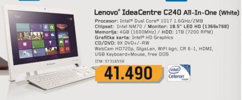 Desktop računar All-In-One IdeaCentre C240 White 57316559