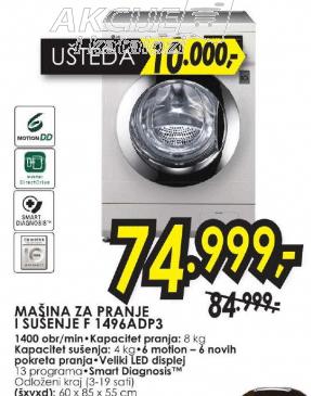 Mašina za pranje i sušenje veša F 1496ADP3