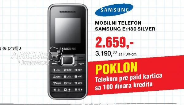 Mobilni telefon SAMSUNG E1180 Silver + Telekom Pre paid kartica sa 100dinara kredita