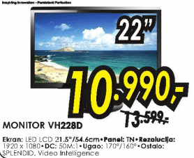 "Monitor 22"" LED LCD VH228D"