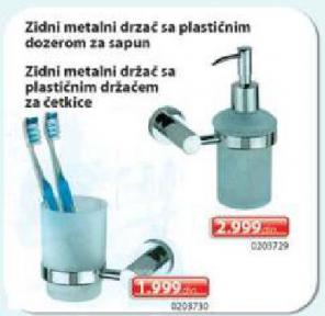 Zidni metalni držač sa plastičnim dozerom za sapun