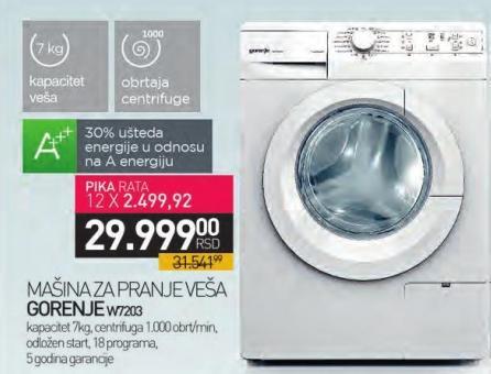 Mašina za pranje veša W7203