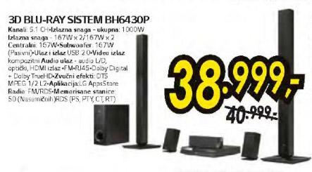3D Blu-Ray sistem BH6430P