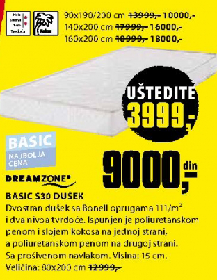 Dušek Basic S30 90x190/200 cm