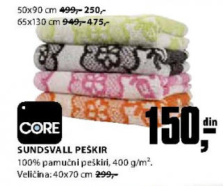 Peškir Sundsvall 65x130 cm - Core