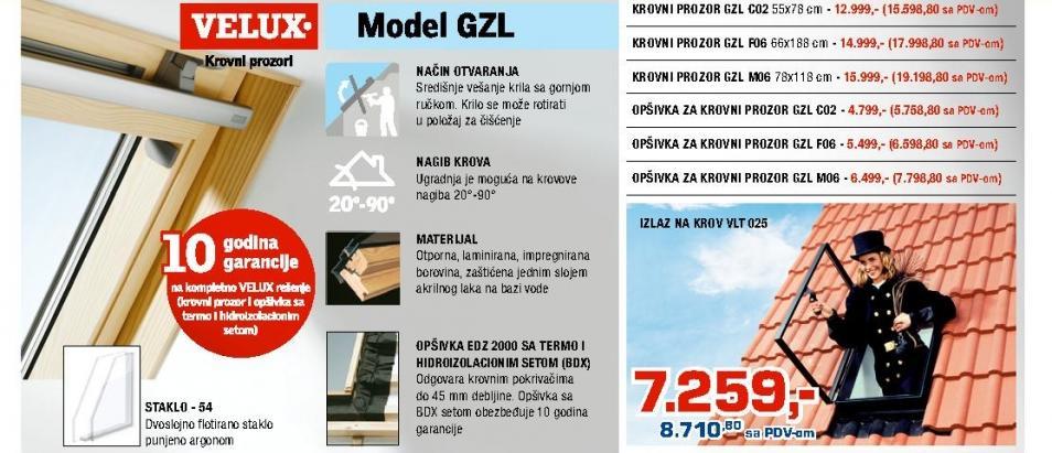 Krovni prozor GZL F06 Velux