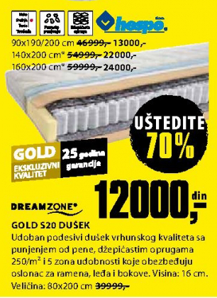 Dušek Gold S20 80x200 cm
