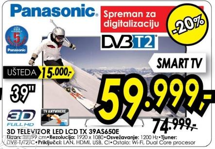 """Televizor LED 39"""" 3D Tx 39a5650e"""