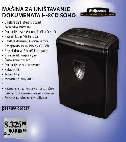 Mašina za uništavanje dokumenata H-8cd Soho