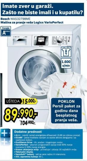 Mašina za pranje veša Logixx VarioPerfect Was32798me