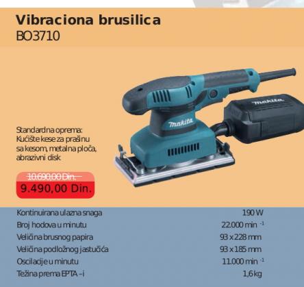 Vibraciona brusilica BO3710, MAKITA