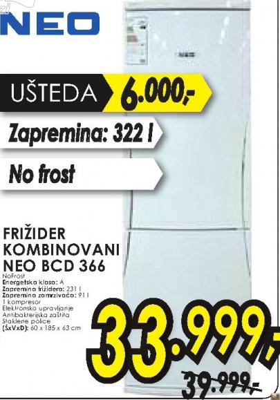 Frižider kombinovani NEO BCD 366