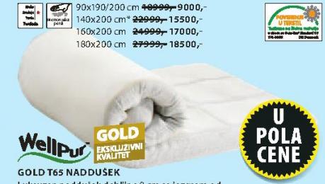 Naddušek Gold T65, 180x200cm