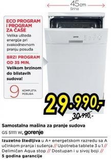 Samostalna mašina za pranje sudova Gs 51111 W