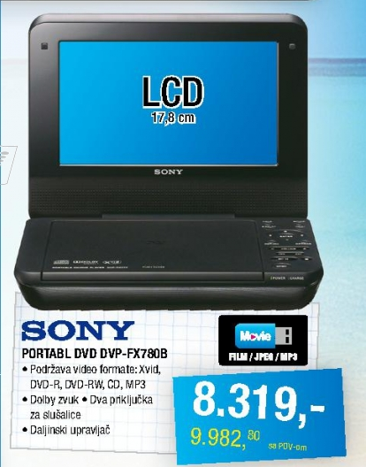 Portabl DVD plejer DVP-FX780B
