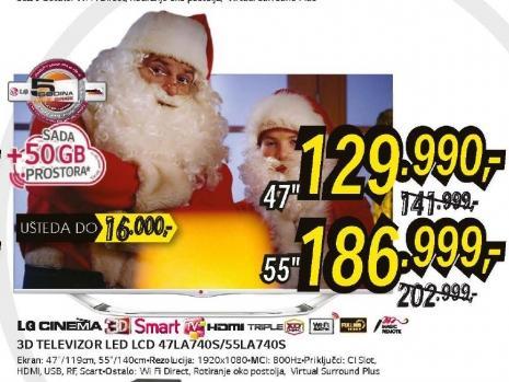 Televizor 3D LED LCD 55LA740S
