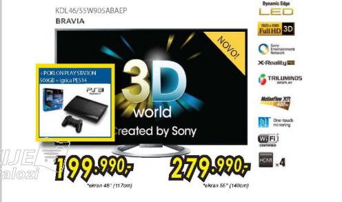 3D televizor LED LCD KDL-55W905ABAEP + poklon PS3 PES14