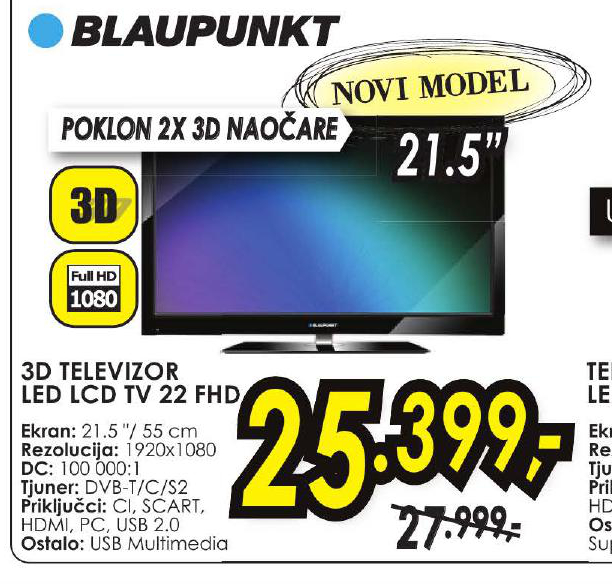 LED LCD TV 22 FHD + Poklon 2x 3D naočare