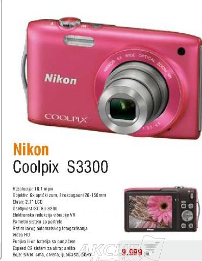 Fotoaparat digitalni Coolpix S3300