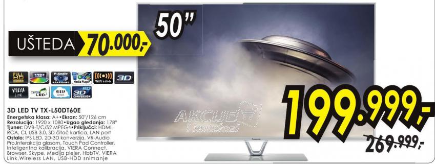 Televizor 3D LED LCD TX-L50DT60E