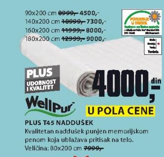 Naddušek Plus T45, 180x200cm