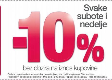 10% popusta svake subote i nedelje