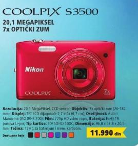 Digitalni fotoaparat S3500
