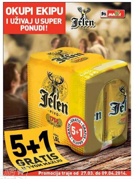 Jelen pivo akcija 5+1 GRATIS