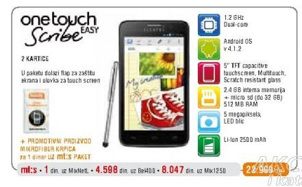 Mobilni telefon One Touch 8000D Scribe Easy