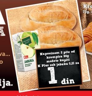 K Plus sok Jabuka 0,2l za 1 dinar