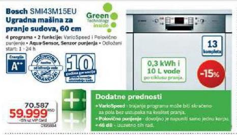 Ugradna Mašina Za Pranje Sudova SSMI43M15EU