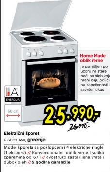 Električni šporet E 61102 Aw