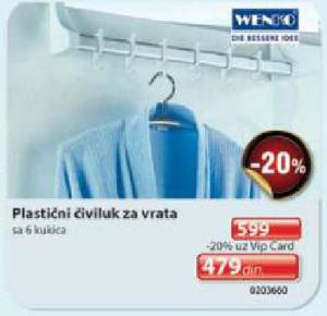 Plastični čiviluk za vrata Wenko
